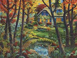 Countryside Cottage Fall Jigsaw Puzzle
