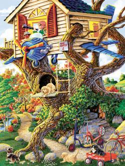 Boys Treehouse Baby Animals Jigsaw Puzzle