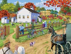 Amish Schoolyard Fall Jigsaw Puzzle