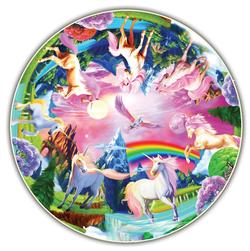 Unicorn Bliss (Round Table Puzzle) - Scratch and Dent Unicorns Round Jigsaw Puzzle