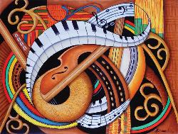 Sound of Soul Strings Abstract Jigsaw Puzzle