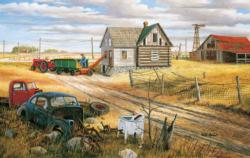 Homestead and Corn Crib Nostalgic / Retro Jigsaw Puzzle