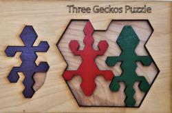 Three Gecko Reptiles / Amphibians Wooden Jigsaw Puzzle