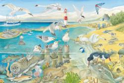 Animals At The Seaside Beach Large Piece