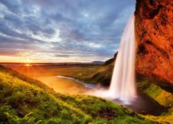 Seljalands Waterfall (Smaller Box) Sunrise / Sunset Jigsaw Puzzle