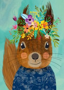 Sweet Squirrel, Floral Friends Animals Jigsaw Puzzle