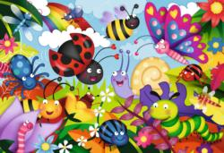 Cute Bugs Flowers Large Piece
