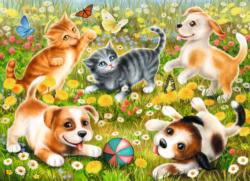 Cats & Dogs Flowers Jigsaw Puzzle