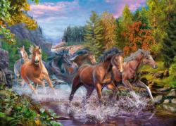 Rushing River Horses Lakes / Rivers / Streams Large Piece