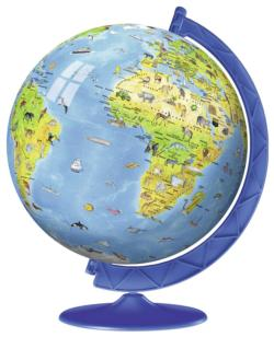 Children's Globe Maps / Geography Round Jigsaw Puzzle