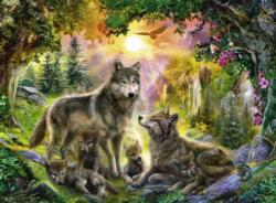Wolf Family in the Sun Nature Large Piece