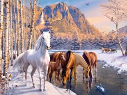 Winter Horses Horses Large Piece