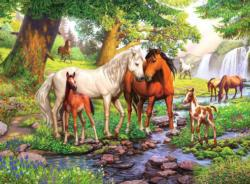 Horses by the Stream Lakes / Rivers / Streams Large Piece