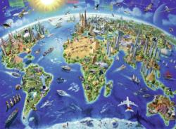 World Landmarks Map Geography Children's Puzzles