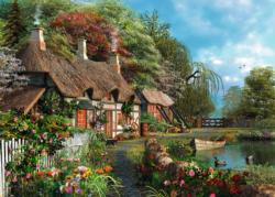 Cottage on a Lake Flowers Large Piece