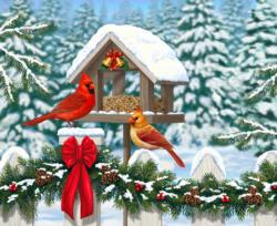 Cardinals at Christmas Christmas Family Puzzle