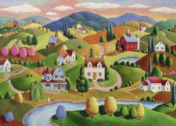 Rolling Hills Folk Art Large Piece