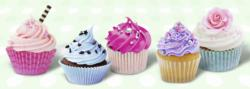 Sugary Sweet Cupcakes Pattern / Assortment Panoramic Puzzle