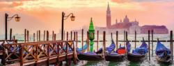 Gondolas in Venice Boats Panoramic Puzzle