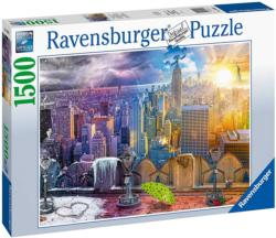 Day & Night NYC Skyline Statue of Liberty Jigsaw Puzzle