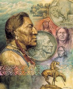 Five Cent Piece Native American Jigsaw Puzzle