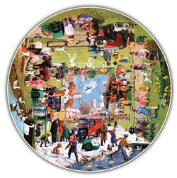 A Year at the Park Winter Round Jigsaw Puzzle