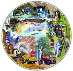 The Nostalgic Journey (Round Table Puzzle) Cars Round Jigsaw Puzzle