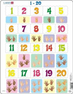 Counting 1-20 Educational 20 Piece Jigsaw Puzzle Alphabet/Numbers Children's Puzzles