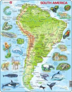 South America Map With Animals South America Children's Puzzles