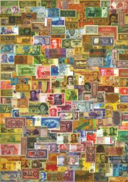 Vintage Currency Collage Currency Jigsaw Puzzle