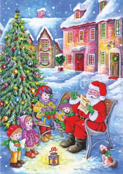 Santa with Carolers Christmas Children's Puzzles