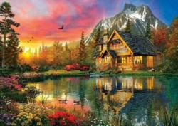 Four Seasons In One Moment Cottage / Cabin Jigsaw Puzzle