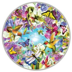 Hummingbirds (Round Table Puzzle) Flowers Round Jigsaw Puzzle
