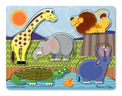Zoo Animals Touch and Feel Puzzle Lions Jumbo / Chunky / Peg Puzzle