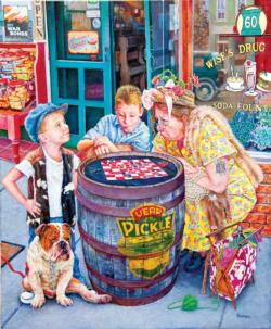 Playing Checkers - Scratch and Dent Street Scene Jigsaw Puzzle