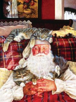 Santa's Cat Nap Christmas Jigsaw Puzzle