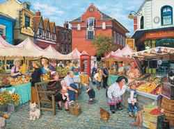 English Farm Market Street Scene Jigsaw Puzzle