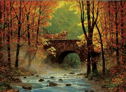 Autumn Bridge Forest Jigsaw Puzzle