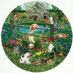 Cats at Play Cats Round Jigsaw Puzzle