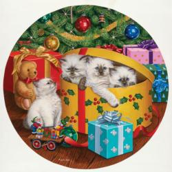 Can We Come Out Now Christmas Round Jigsaw Puzzle