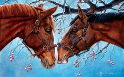 Snow Kissed Horses Jigsaw Puzzle