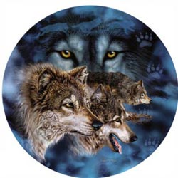 Who's Watching Who Wolves Round Jigsaw Puzzle
