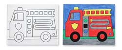 Canvas Creations - Fire Truck Vehicles Arts and Crafts