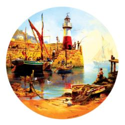 At the Harbor Seascape / Coastal Living Round Jigsaw Puzzle