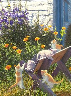 Kittens in the Country Outdoors Jigsaw Puzzle