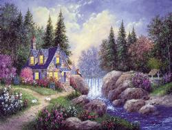 Watching the Falls Cottage/Cabin Jigsaw Puzzle