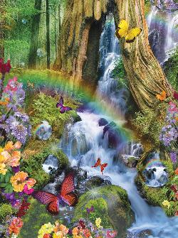 Woodland Butterflies Waterfalls Jigsaw Puzzle