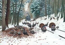 Winter Turkey Tracks Trains Jigsaw Puzzle