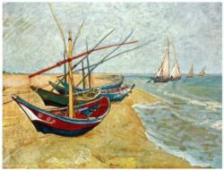 Fishing Boats on the Beach Boats Miniature Puzzle