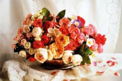 Basket of Roses Flowers Jigsaw Puzzle